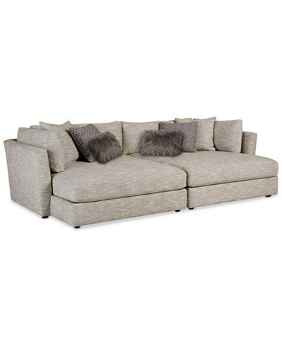 Leonora Sectional Sofa W/ 2 Chaises U0026 6 Toss Pillows, Only At Macyu0027s