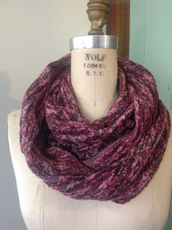 Etsy listing at https://www.etsy.com/listing/163315705/pink-and-black-infinity-scarf