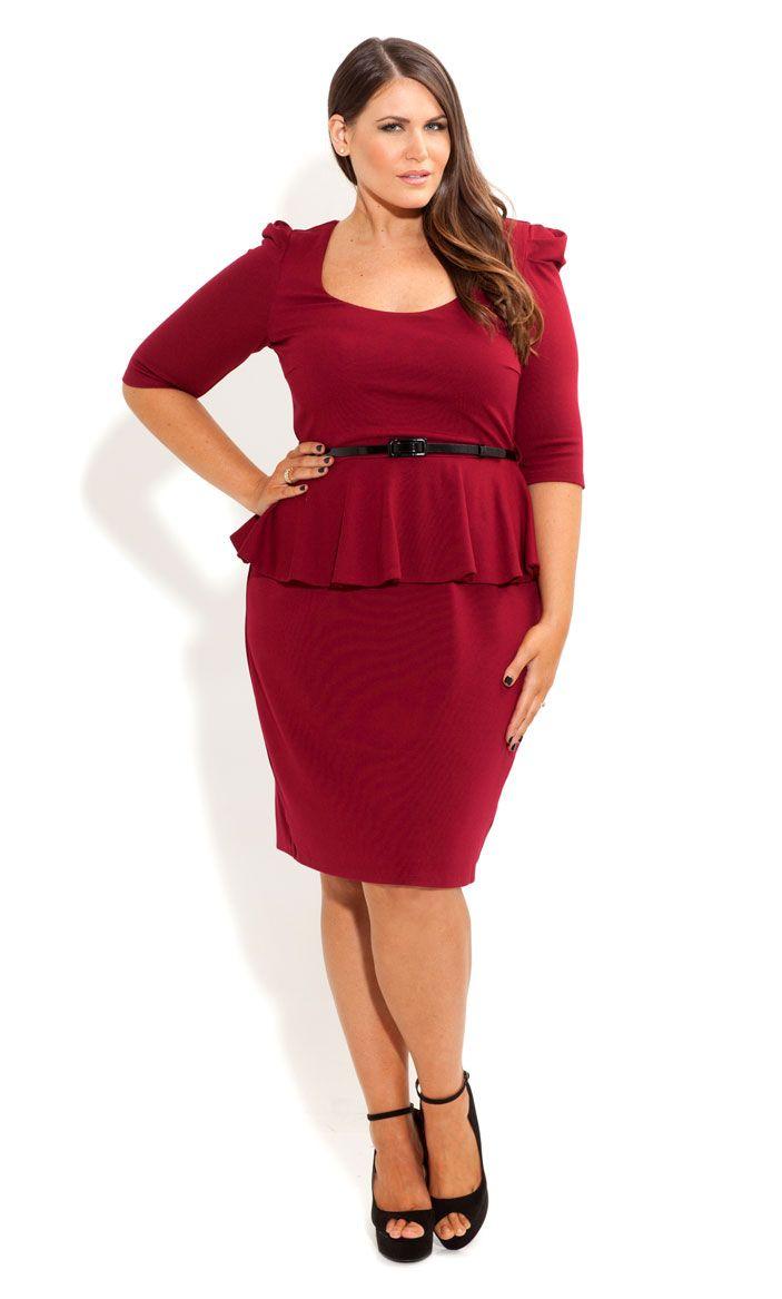 City Chic - PUFF SLEEVE PEPLUM DRESS - Women\'s plus size ...