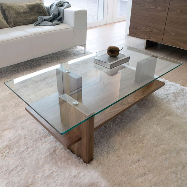 A great example of a modern glass/wood coffee table. The ...