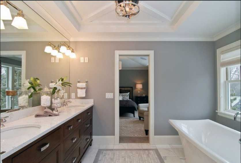 The Master Bathroom Paint Colors In This Space Is Benjamin Moore S Cobblestone Path A Traditional Bathroom Paint For Kitchen Walls Traditional Bathroom Designs