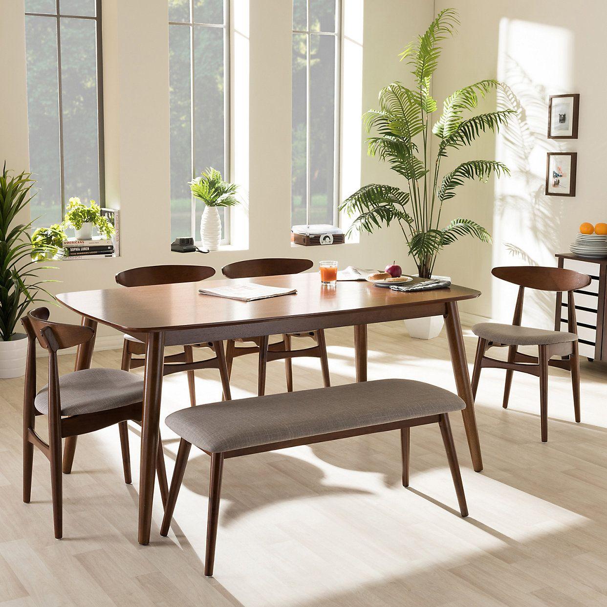 Baxton Studio Flora Dining Table, Chair & Bench 6-piece Set | Kohls