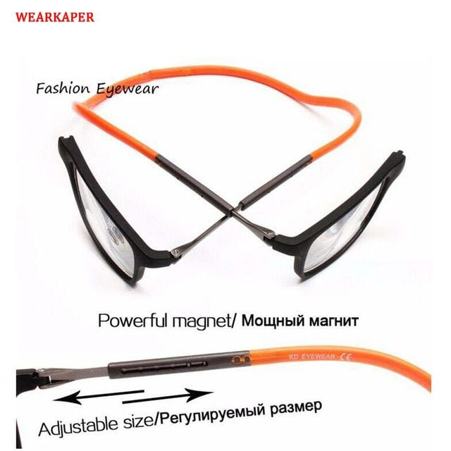 c270bbe4455 WEARKAPER Magnet Reading Glasses Men Women Adjustable Hanging Neck Magnetic  Front Presbyopic Eyeglasses 1.00 1.50 2.00 3.00 Review