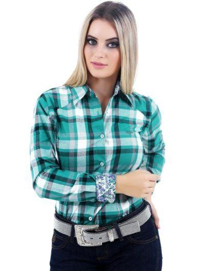 553be958c7dcd camisa xadrez country feminina verde