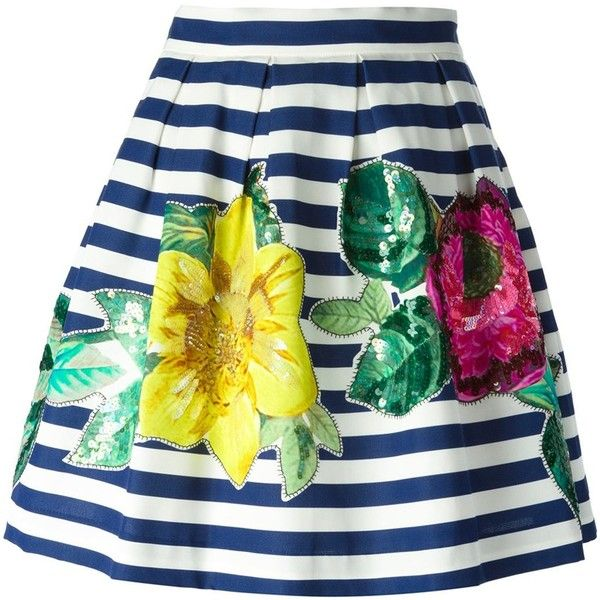P.A.R.O.S.H. Stripe and Flower Print Skirt (34970 RSD) ❤ liked on Polyvore featuring skirts, blue, blue cotton skirt, flower print skirt, blue stripe skirt, floral printed skirt et blue floral skirt