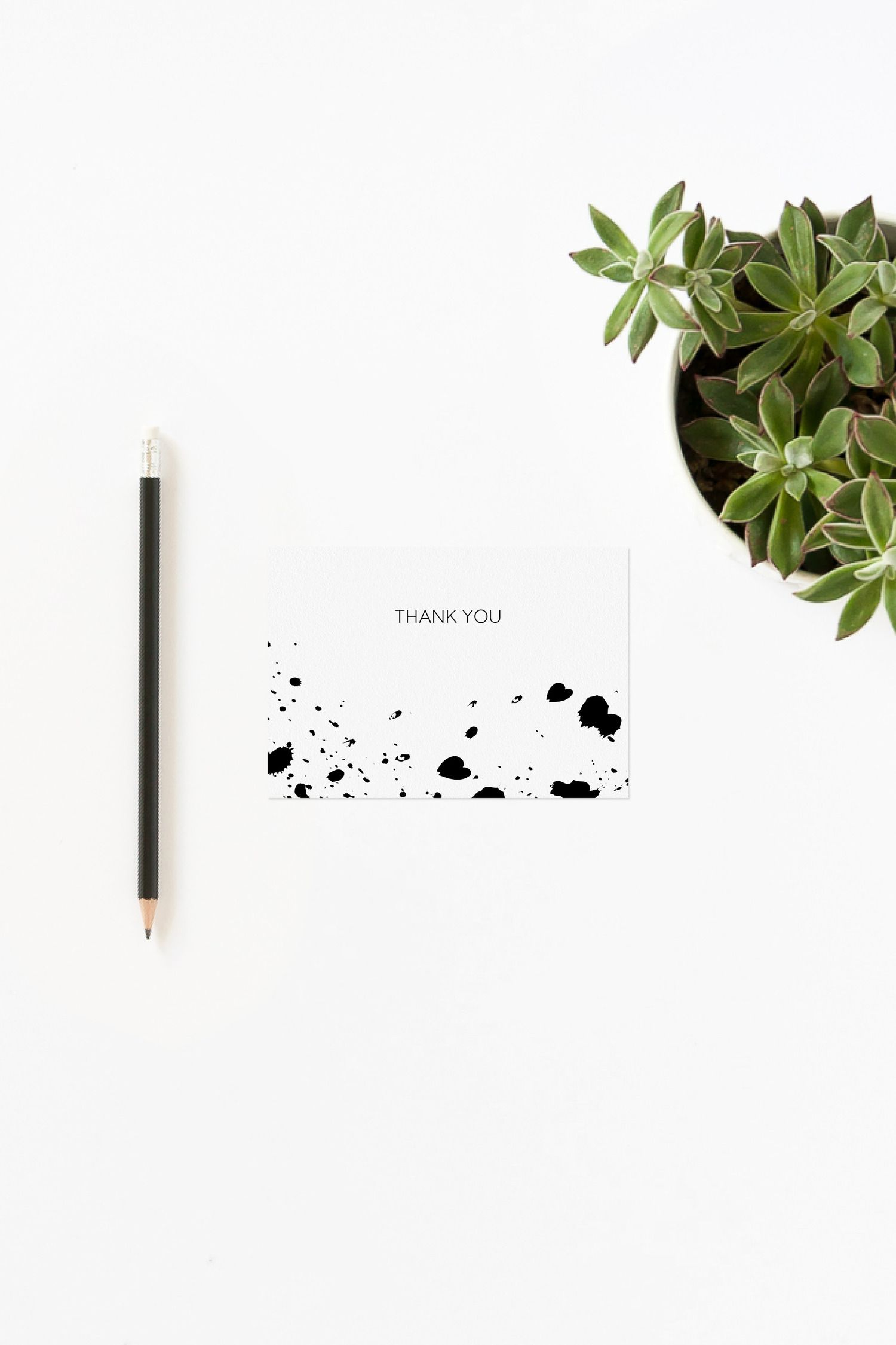 Modern printable thank you card template with black and