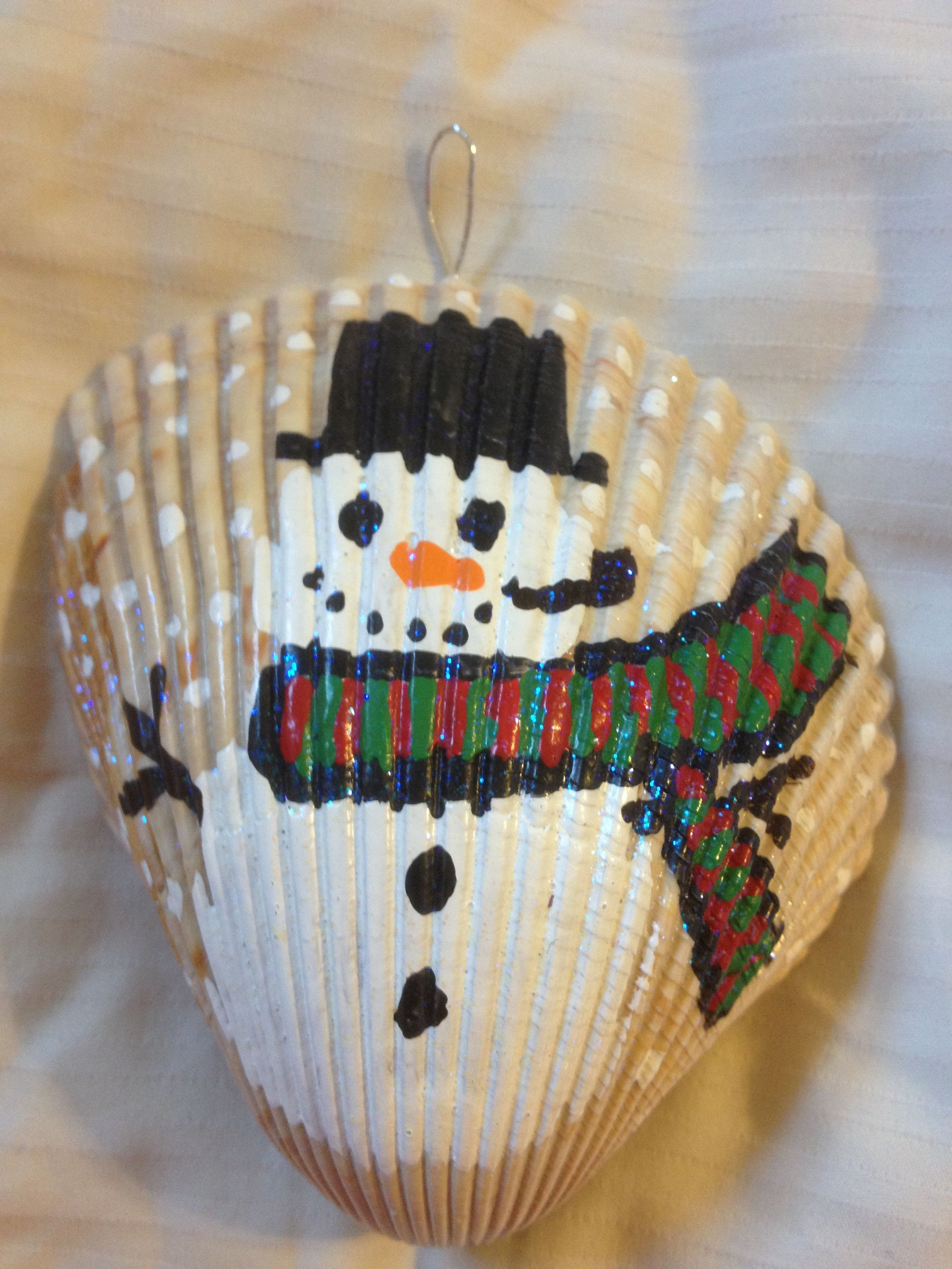 Cute snowman seashell snow globe Seashell crafts
