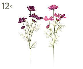 Set de 12 flores Cosmos artificiales - fucsia