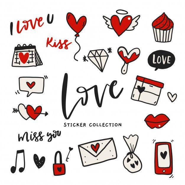 Hand Drawn Love Sticker-label Set   Love stickers ...