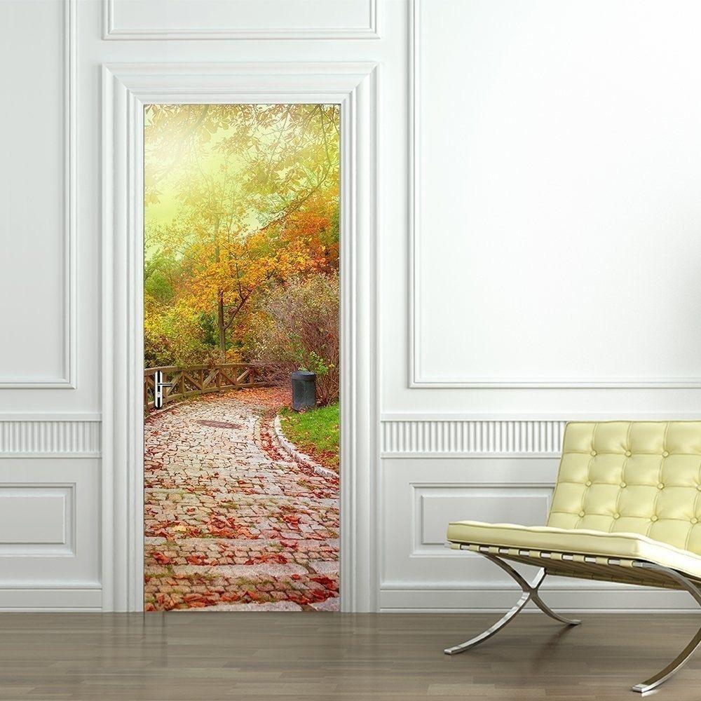 D door wallpaper murals wall stickers stone road for home