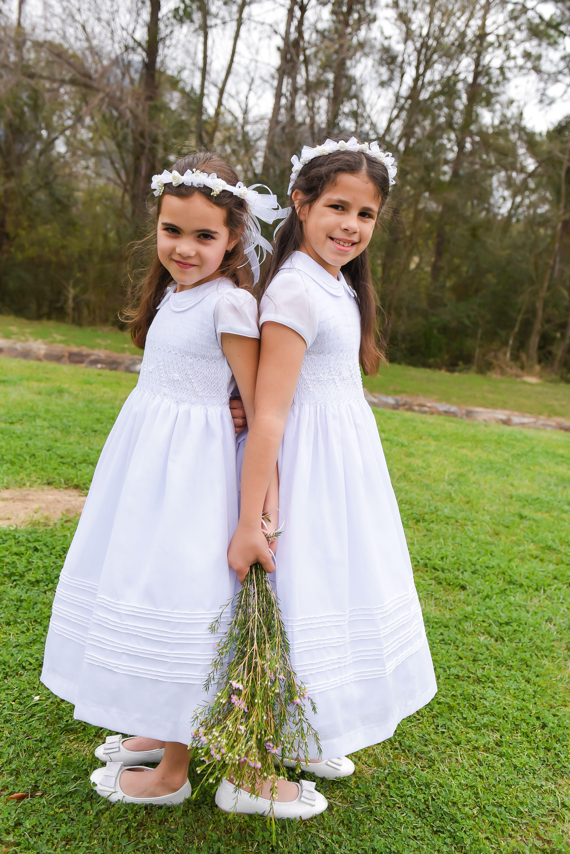 Flower Girl Dress White Smocked Girl Dresses Cotton Fabric   Etsy ...