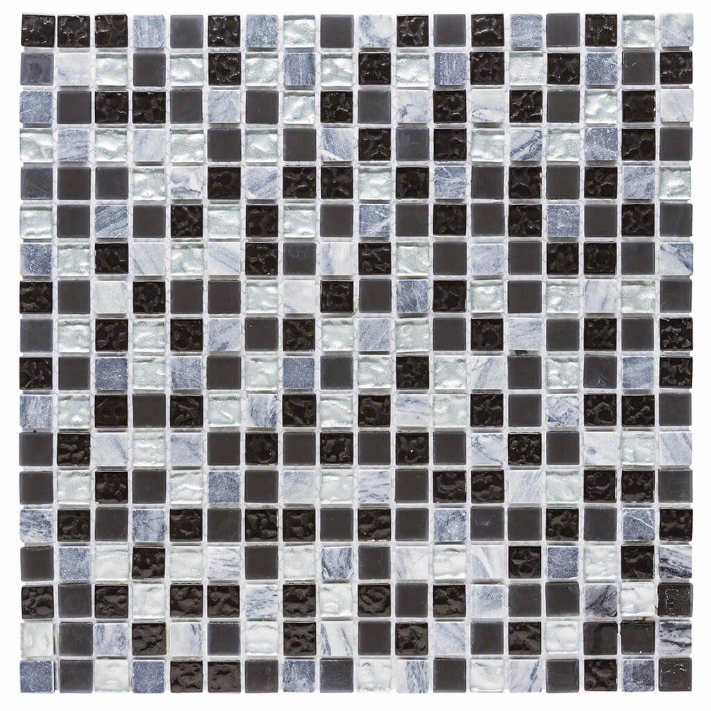 Malla Decorativa Rain con mezcla de cristal y piezas de piedra natural tonos gris claro/oscuro y negro. Medida (cm) 30 x 30 Grosor (cm) 0.4