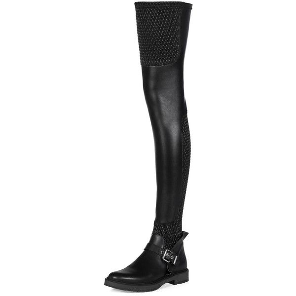 b7f8007a62b Fendi Smocked Leather Over-The-Knee Biker Boot featuring polyvore women s  fashion shoes boots nero flat leather boots over-knee boots slip on boots  leather ...