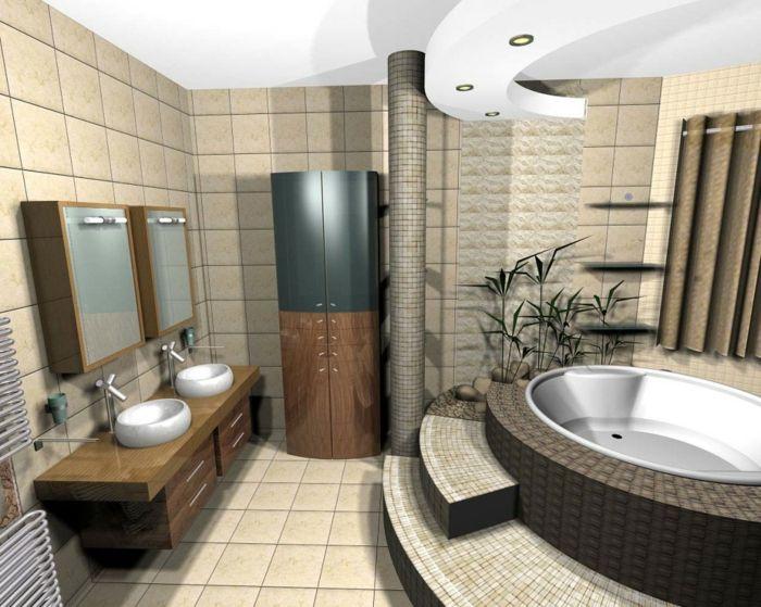 Decke Badezimmer ~ Badezimmer gestalten feng shui moderne badewanne badfliesen decke