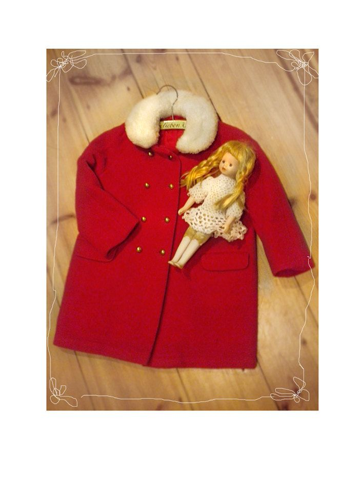 Vintage Childrens Wool COAT, 1950s Double Breasted Buttons Red Wool Coat White Fur Trim Kids Vintage Fashion Winter Coat by SuitcaseInBerlin on Etsy