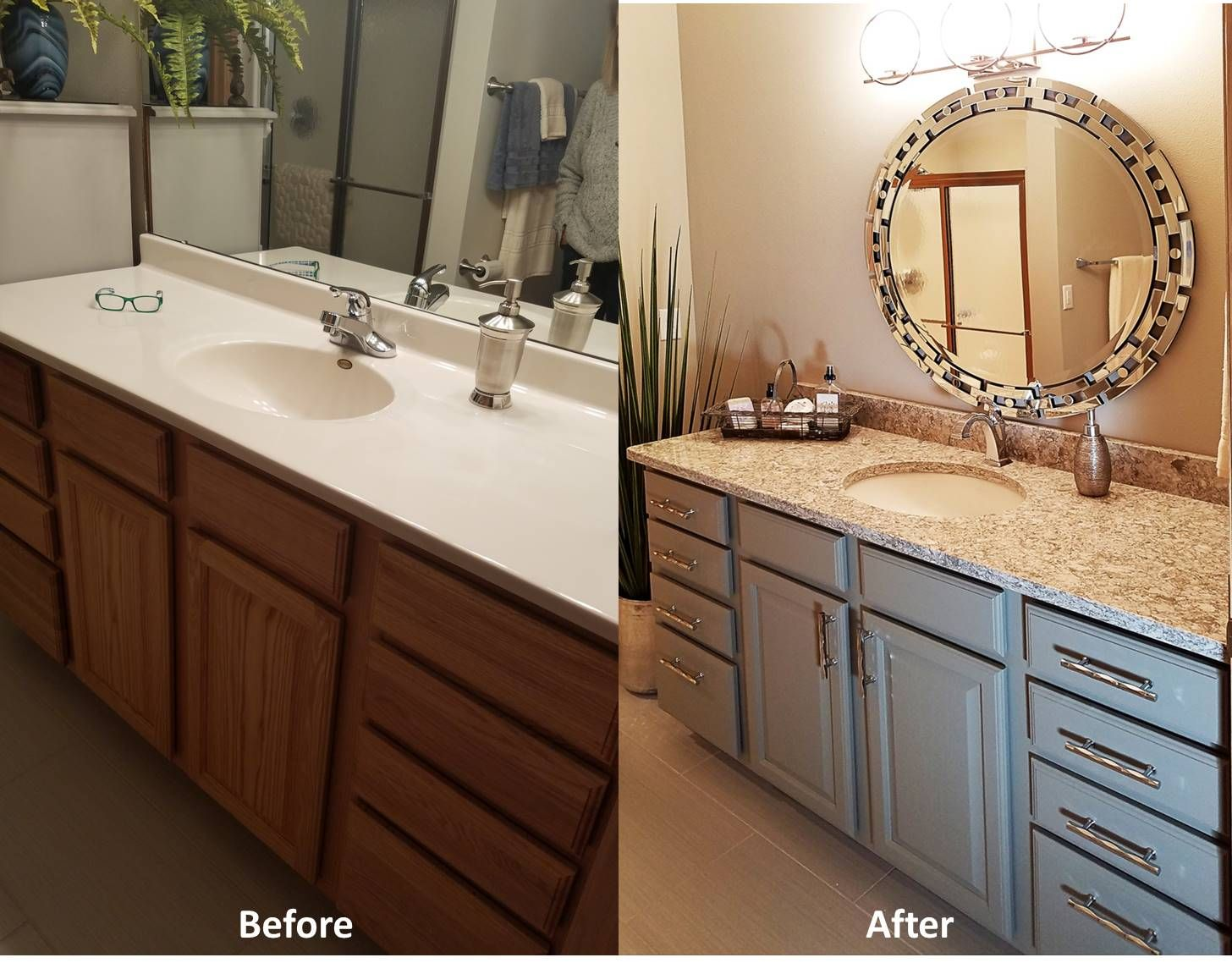 Before After Bathroom Vanity Makeover Oak Vanity Was Painted