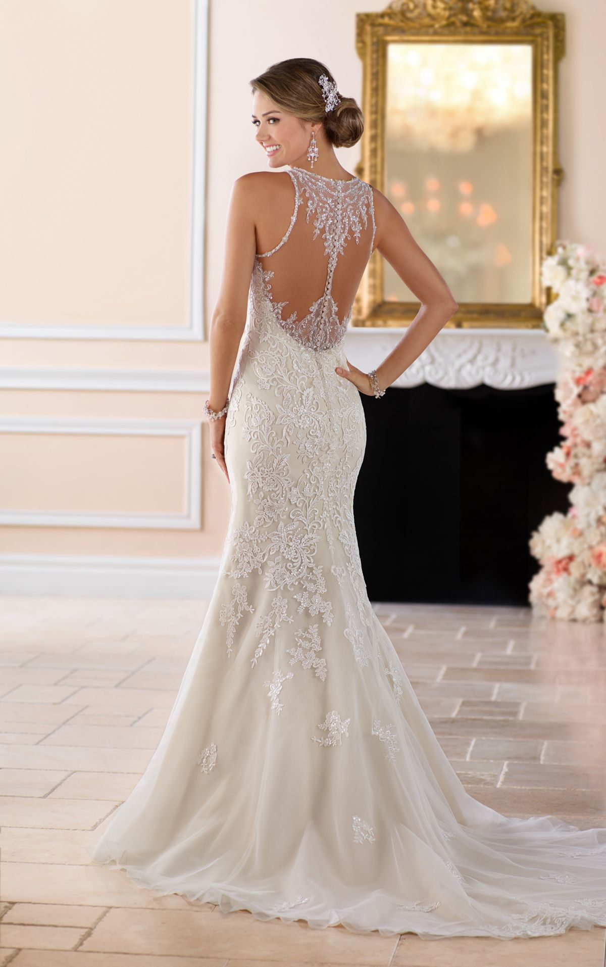 Elegant High Neck Wedding Dress With Lace Beading Weddddding