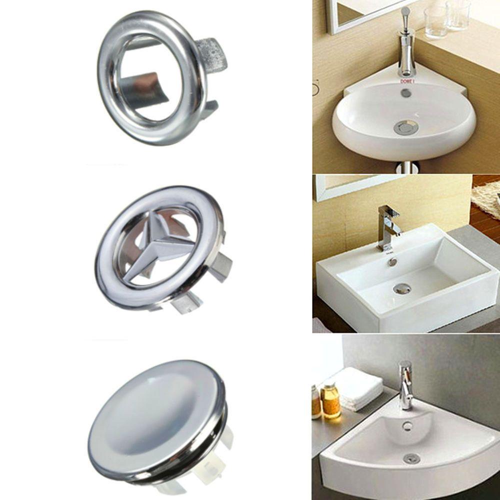 3pcs Bathroom Basin Sink Overflow Covers Trim Replacement Superb Quality Home Improvement Plumbing Fixtures