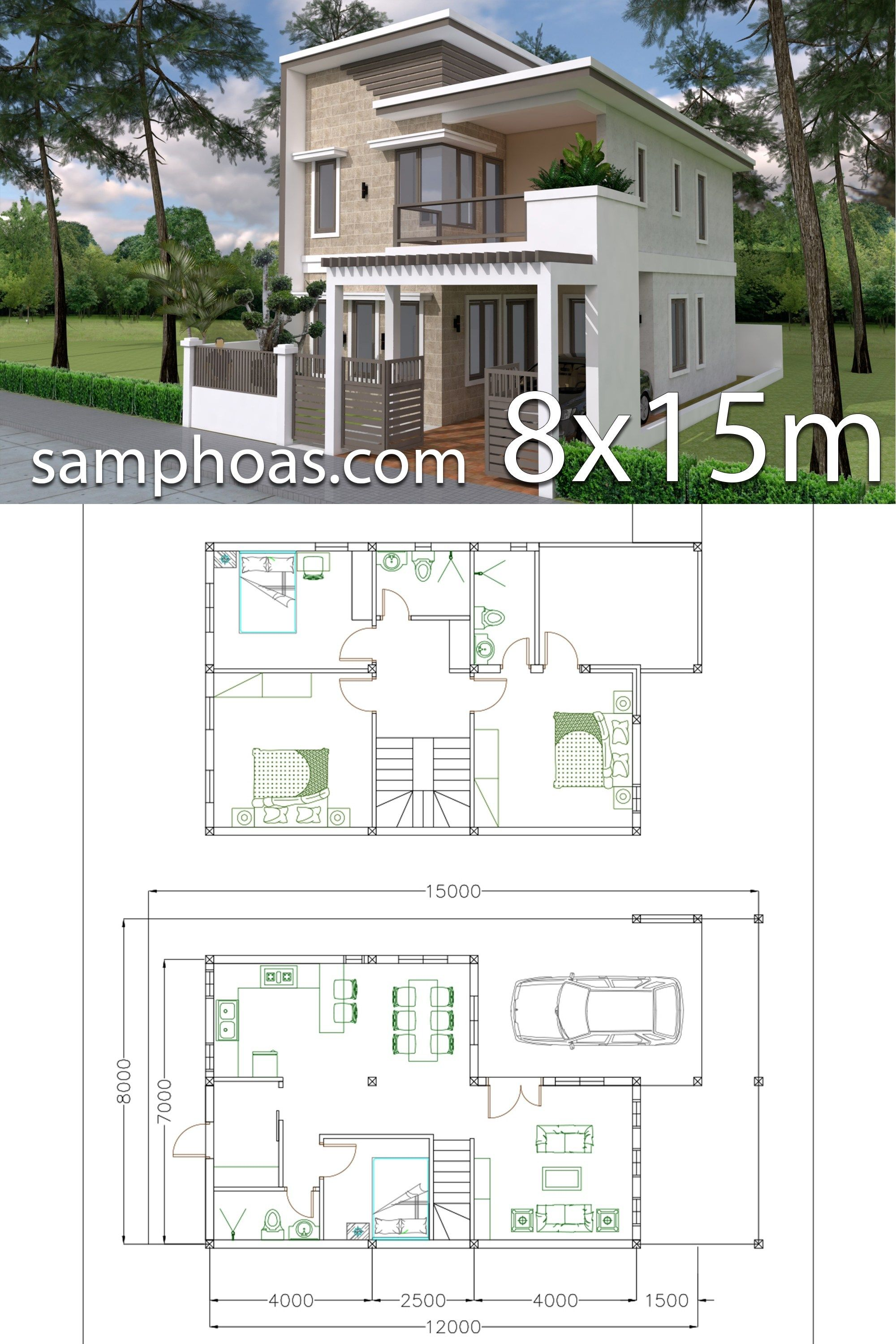 Home design plan 7x12m with 4 bedrooms plot 8x15 samphoas plan