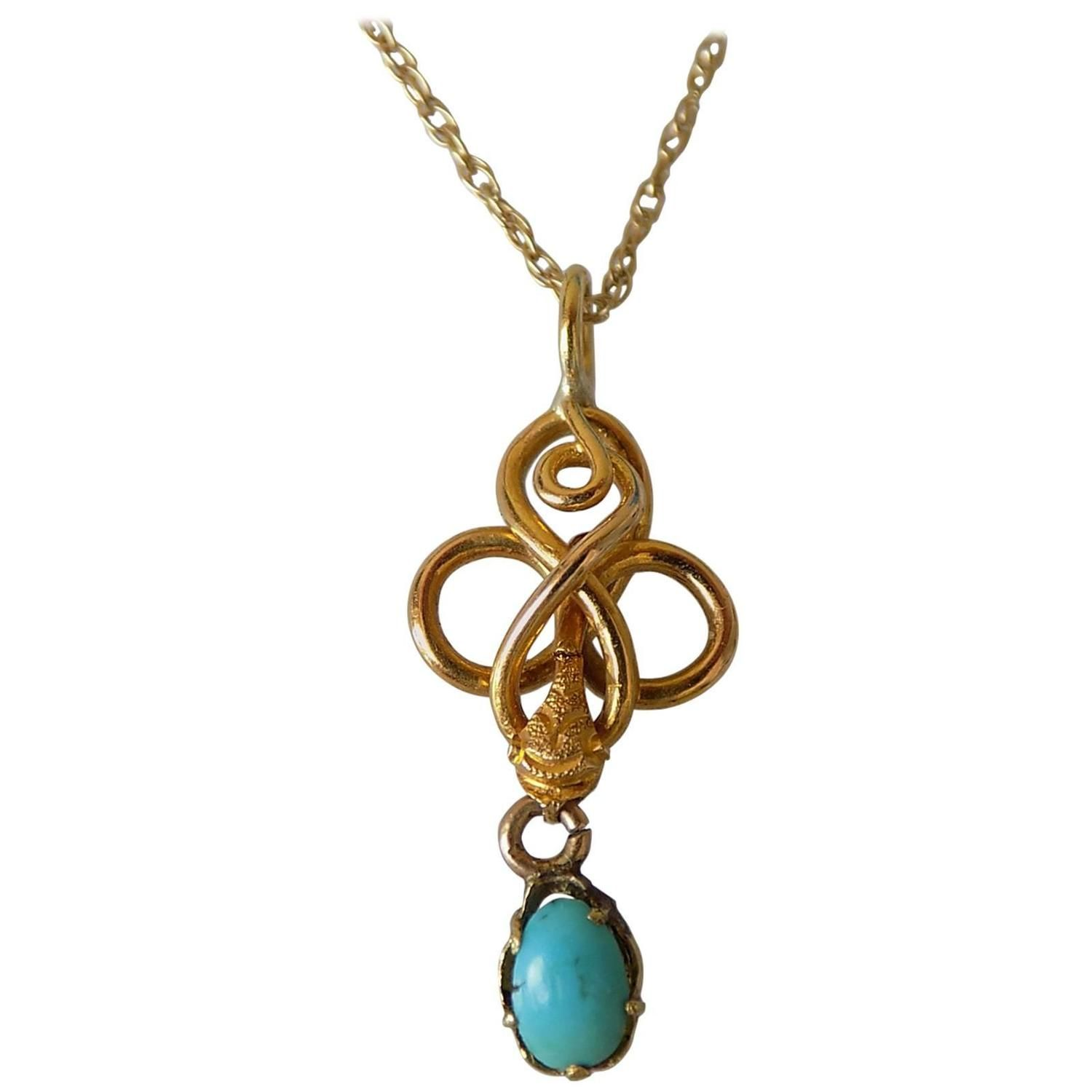 Victorian gold turquoise snake pendant necklace pendants snakes victorian gold turquoise snake pendant necklace aloadofball Images