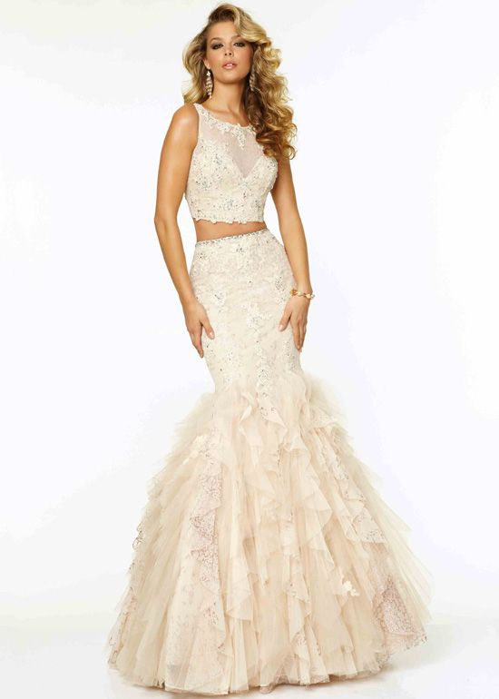 Fitted 2015 Nude Two Piece Beaded Open Back Mermaid Prom Dress ...