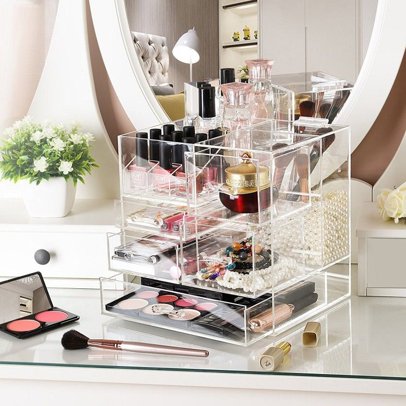 Acrylic Makeup Organizer Detachable Cosmetic Display Case Jewelry
