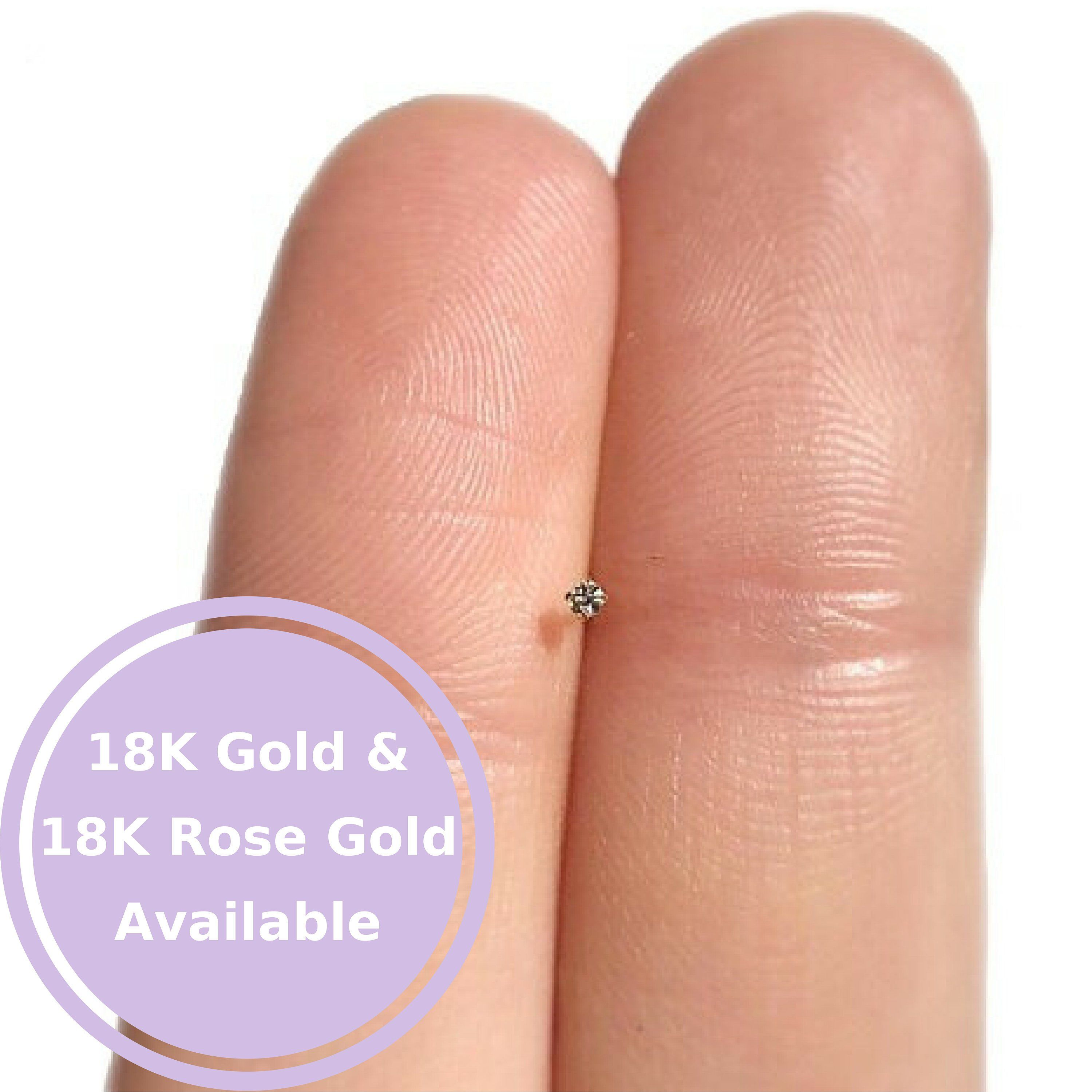 Gold nose piercing  TEENY TINY mm Rose Gold Nose Stud Nose Ring Gold Nose Stud Nose