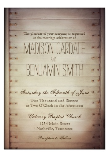 Old Wood Slat Door Rustic Country Wedding Invitations With A Vintage Antique Look Great For Weddings