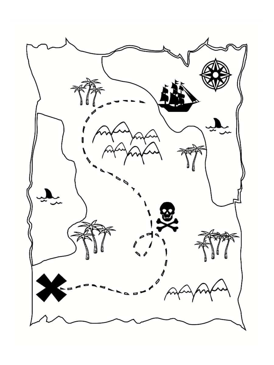 Coloriage Carte Au Tresor Carte Au Tresor Activites Des Pirates