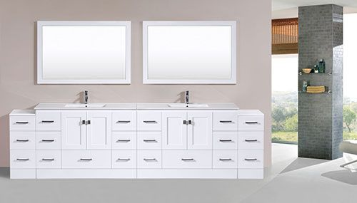 97 Over 120 Redondo White Double Modern Bathroom Vanity With 2 Side Cabinets And Integrated Sinks Ba Bathroom Vanity Modern Bathroom Modern Bathroom Vanity
