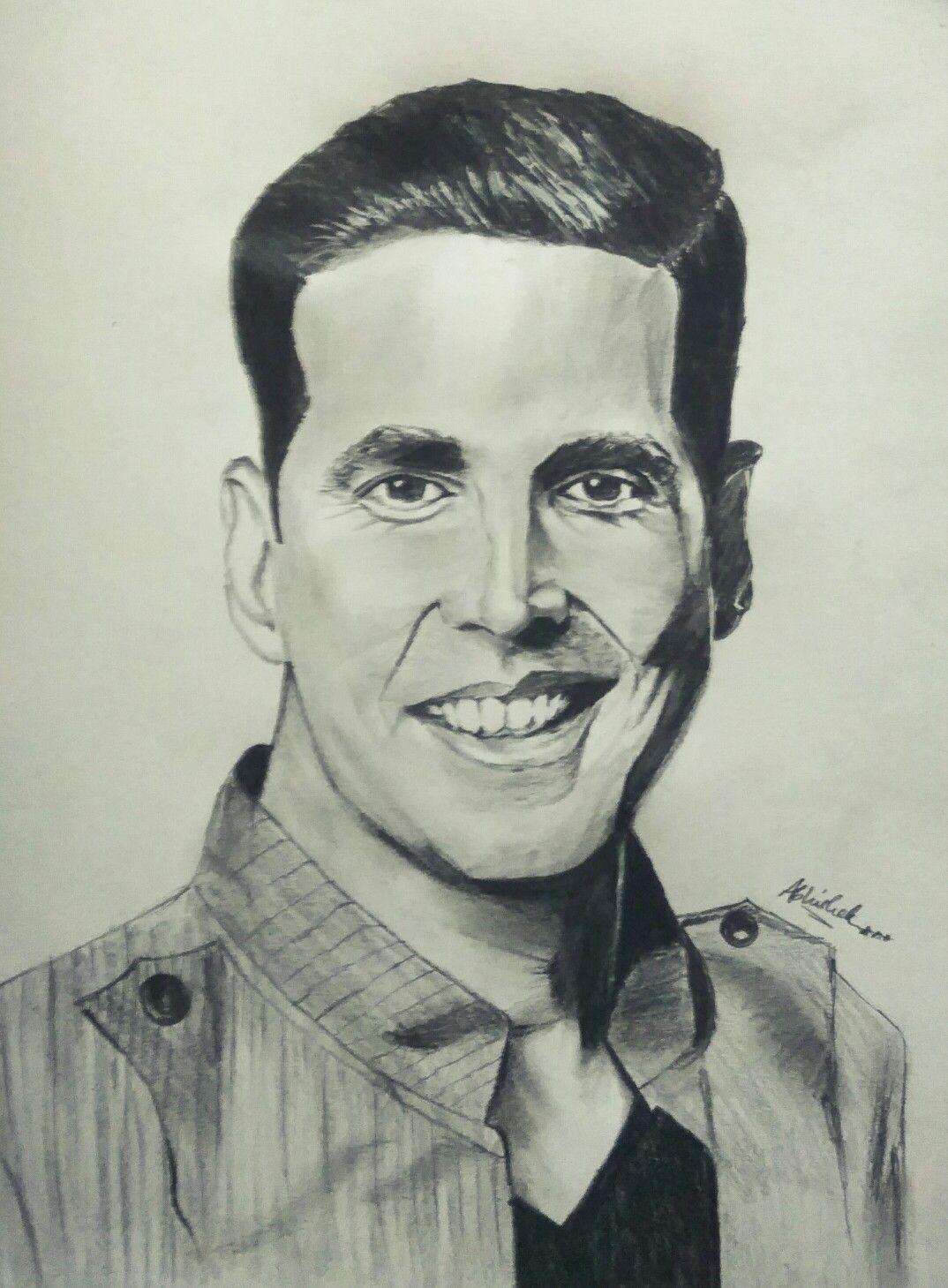 Akshay kumar versatile actor celebrity caricatures celebrity portraits face sketch hint