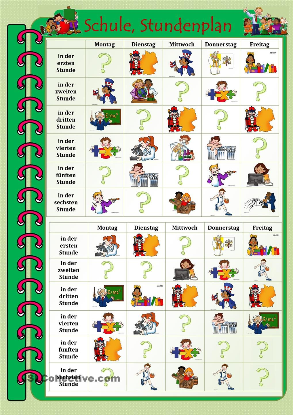 Stundenplan This could be a fun partner activity, i.e. - Was hast du ...