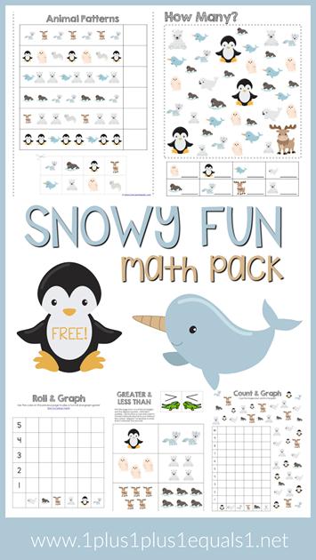 Snowy Fun Math Pack Free Winter Theme Printables | Homeschool Ninjas ...