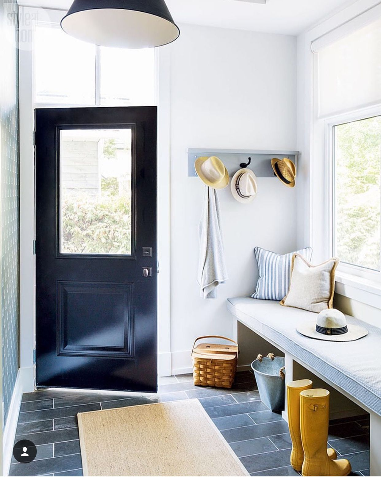 Bright, Contemporary Mudroom Entryway