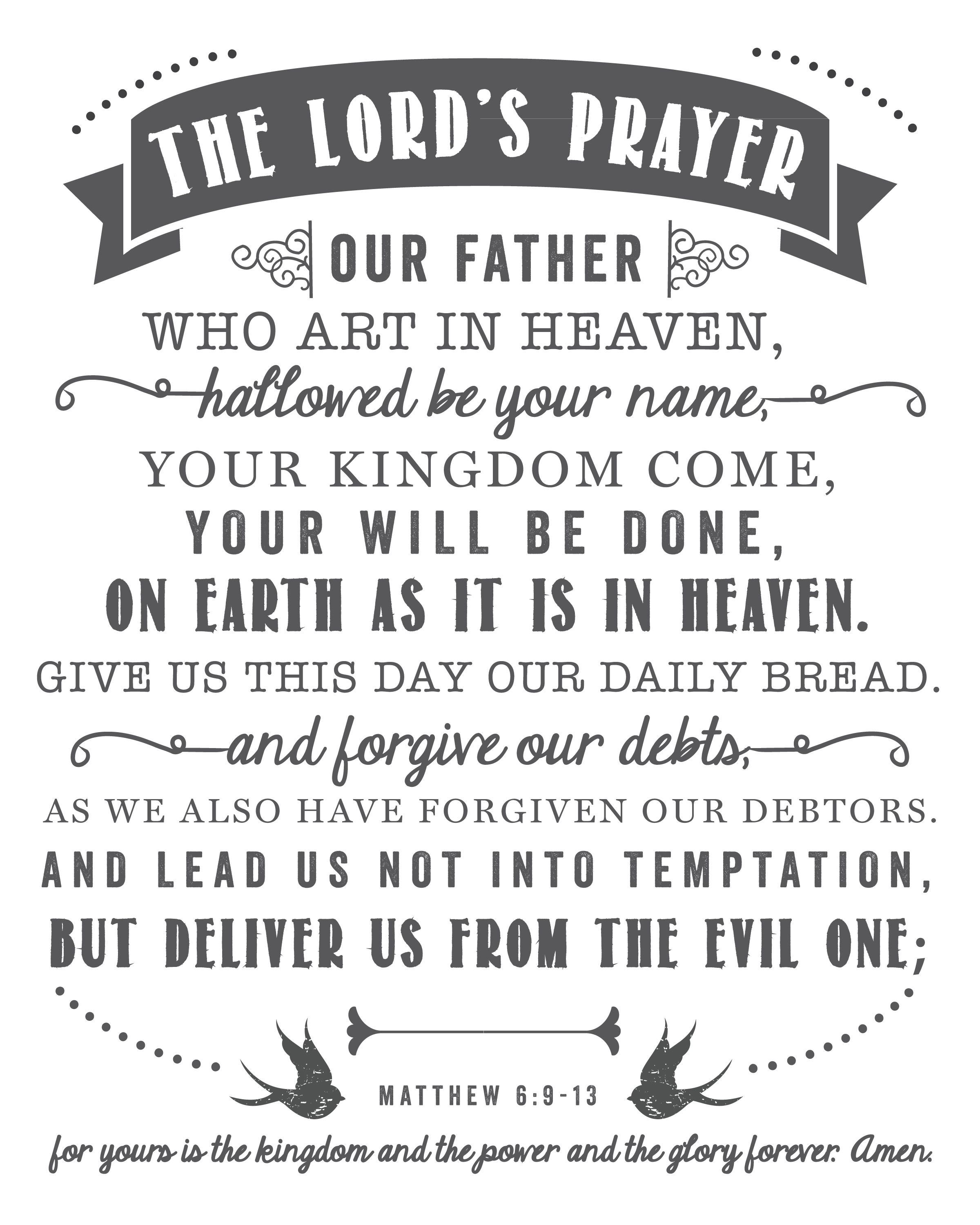 The Lord S Prayer The Lords Prayer Printable Prayers Our Father Prayer