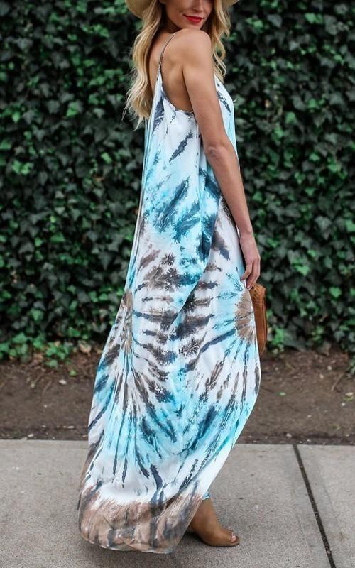 b941d6c03d Blue Floral Print Pockets Backless Spaghetti Strap Deep V-neck Bohemian Maxi  Dress Vacation Dresses