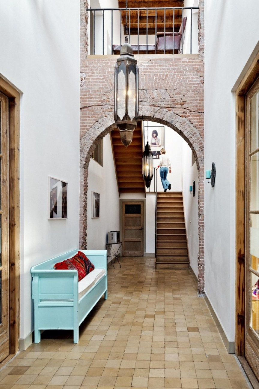 Colourful And Industrial Brick Archway Entrance Halls And