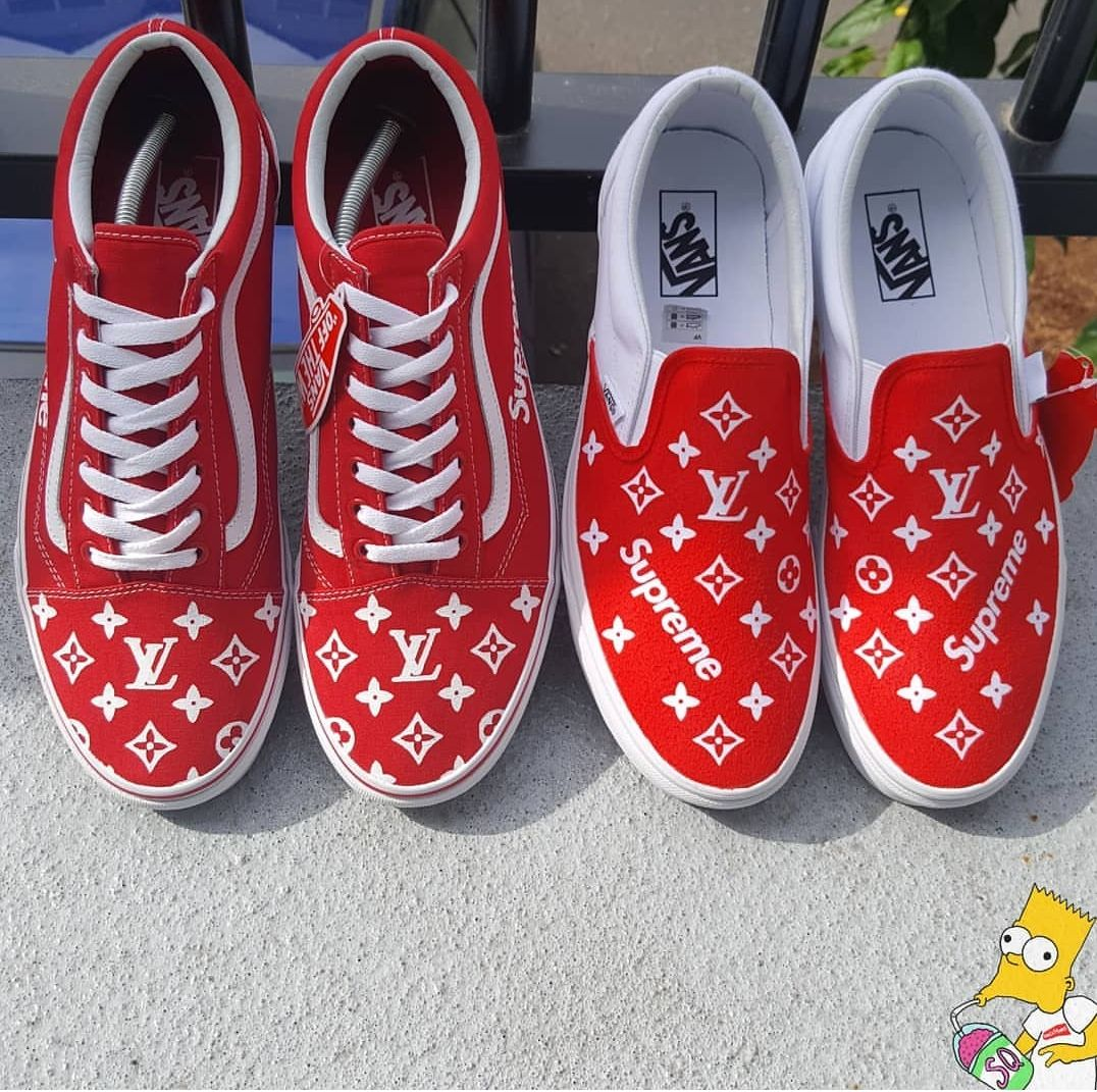 ce07b7d92596 Custom LV Supreme Vans Slip On Old Skool