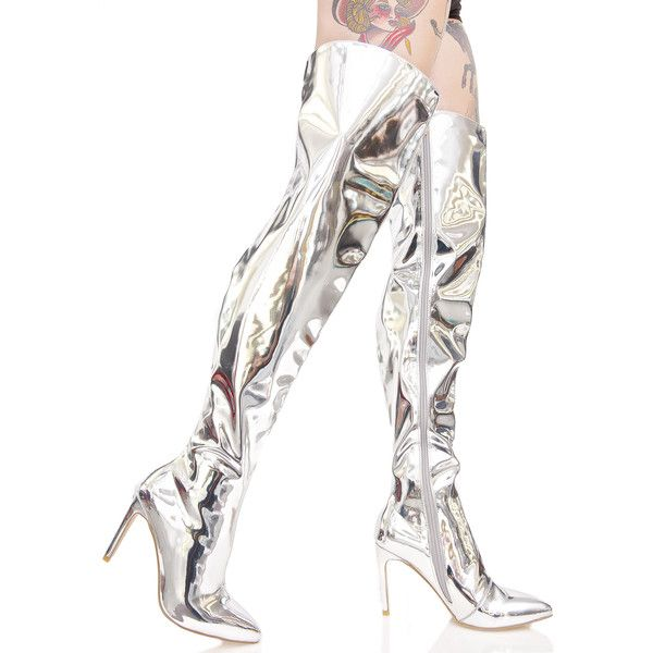 Space Oddity Thigh-High Boots (€80) ❤ liked on Polyvore featuring shoes, boots, above knee boots, pointy toe thigh high boots, above the knee boots, side zip boots and spiked heel boots