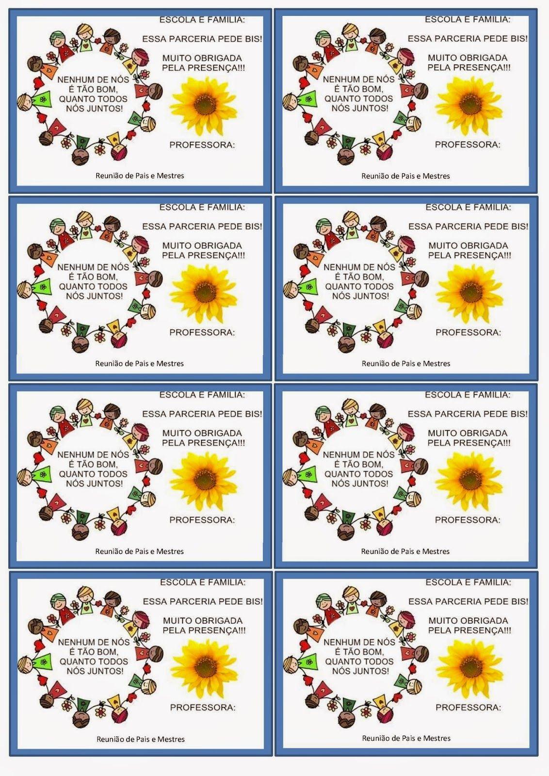 ... de Valor: Cartão lembrança para Reunião de Pais e Mestres