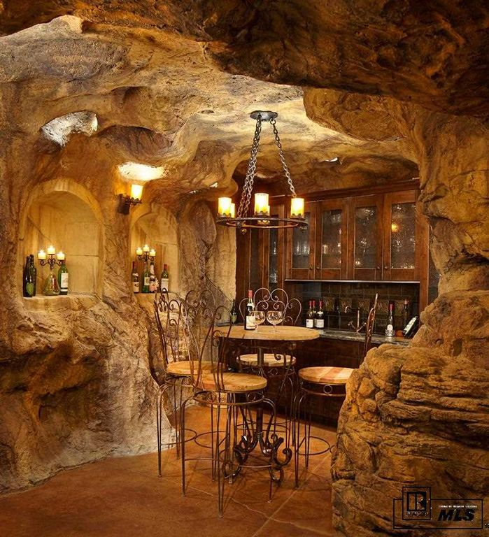 Rustic wine cellar with concrete tile built in bookshelf rustic wine cellar with concrete tile built in bookshelf chandelier wall sconce aloadofball Choice Image
