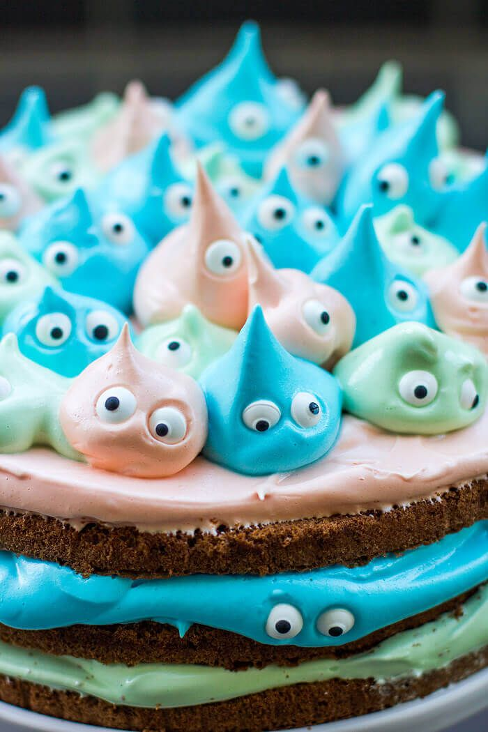Kleine Monstertorte mit Marshmallow-Frosting #healthymarshmallows