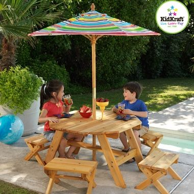 KidKraft Octagon Table, 4 Stools and Multi-Colored Striped Umbrella - Click to enlarge
