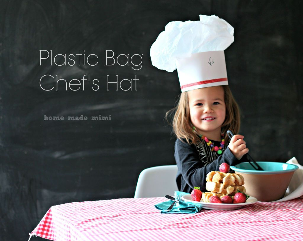 Plastic bag chef hat kid 39 s crafts plastic bag craft for Paper chef hat craft