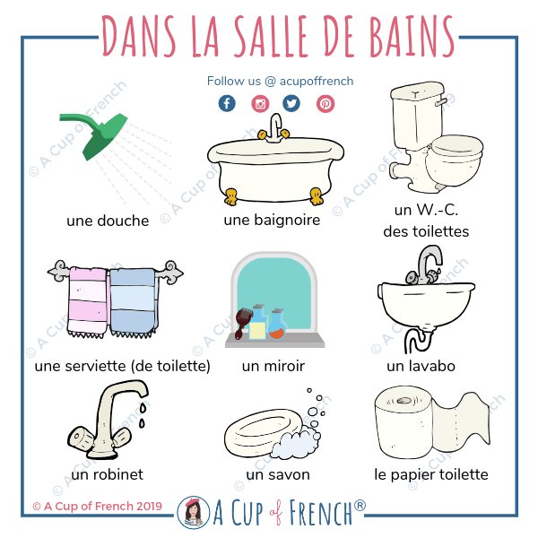 Dans la salle de bains | French flashcards, French vocabulary, French language lessons