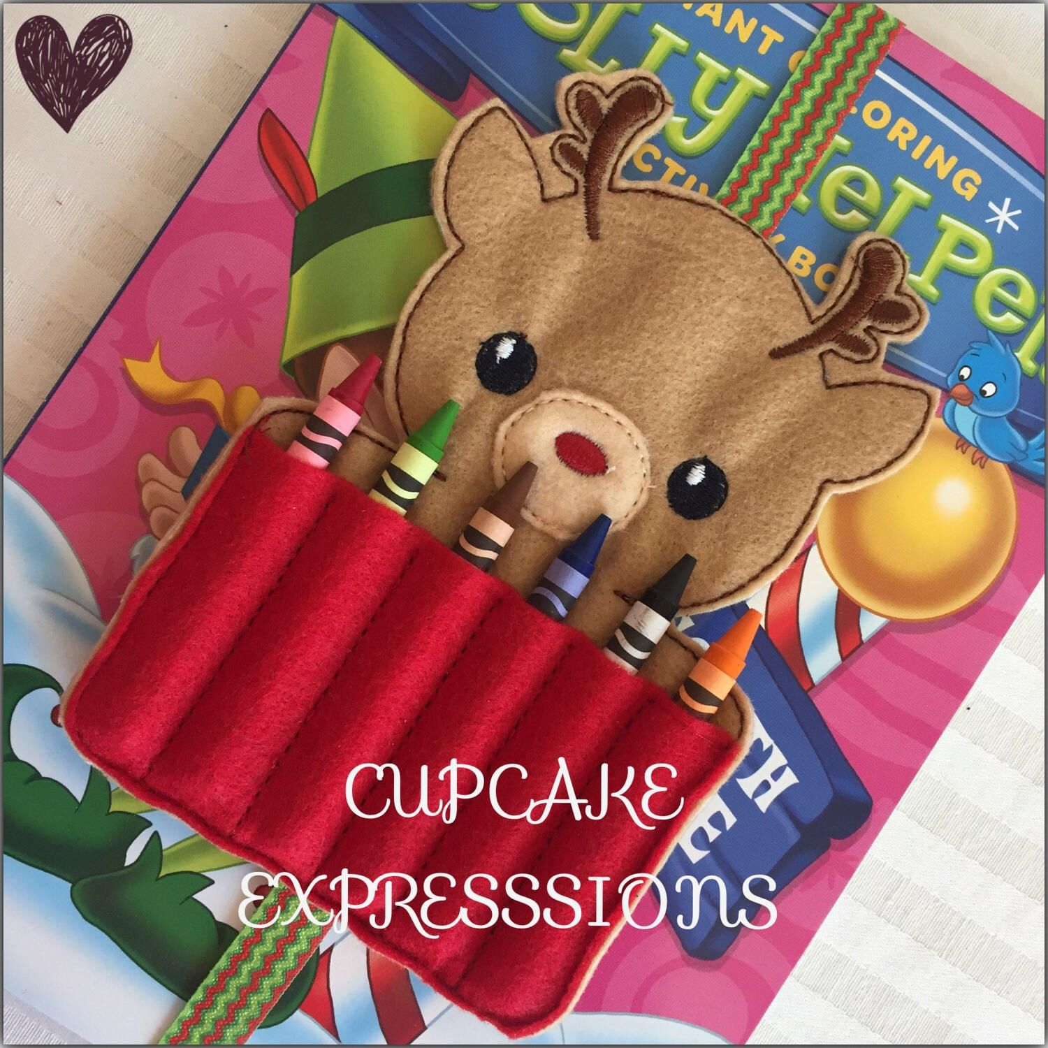 homemade coloring book crayon holder reindeer quiet time play toy christmas holiday present santa clause - Coloring Book And Crayon Holder