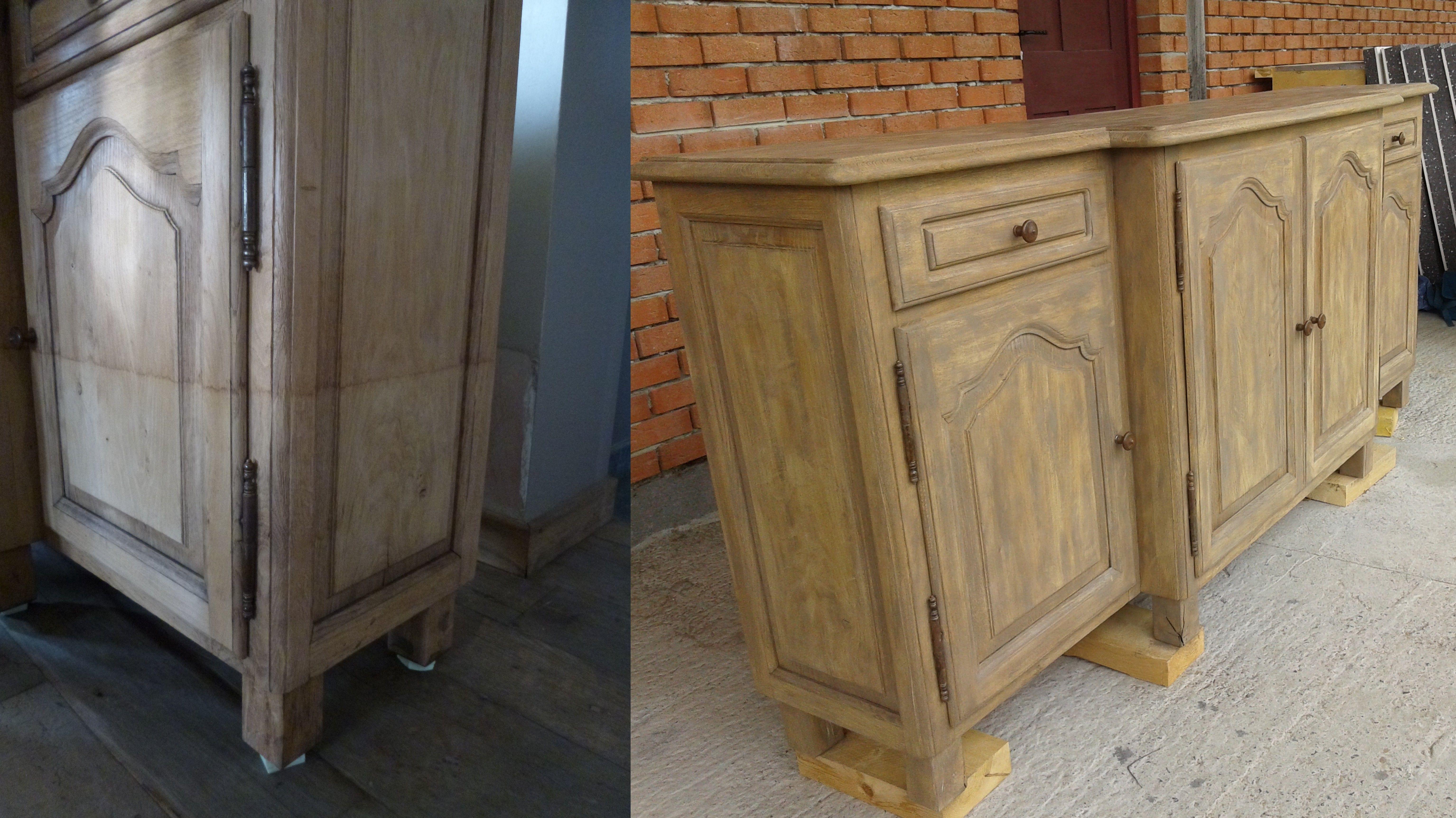 buffet 4 portes photos d 39 avant apr s restauration et patine sur demande d 39 un buffet ab m par un. Black Bedroom Furniture Sets. Home Design Ideas