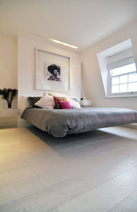 Amazing Floating Beds Furniture and White Theme Decor in Contemporary Bedroom Decorating Ideas Contemporary Bedroom Ideas with Wooden Furnit...