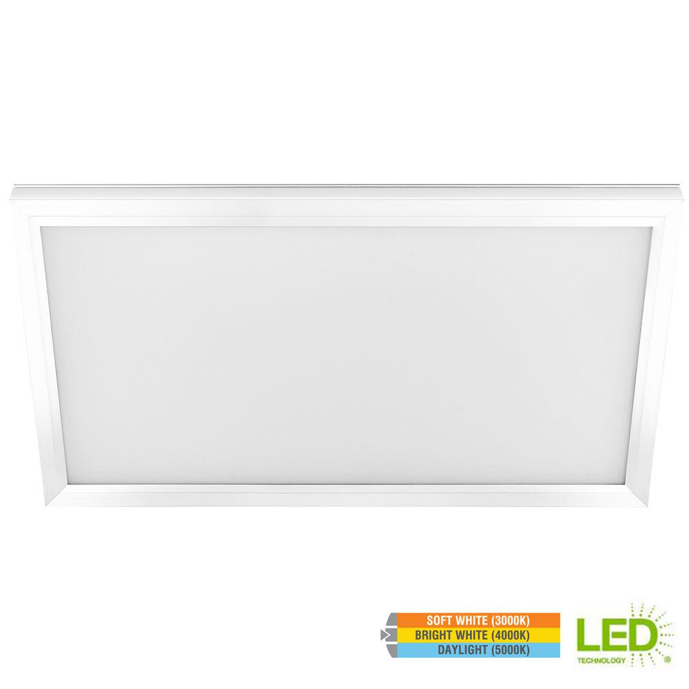 Commercial Electric 1 Ft X 2 23 Watt Dimmable White Integrated Led Edge Lit Flat Panel Ceiling Flushmount With Color Changing Cct