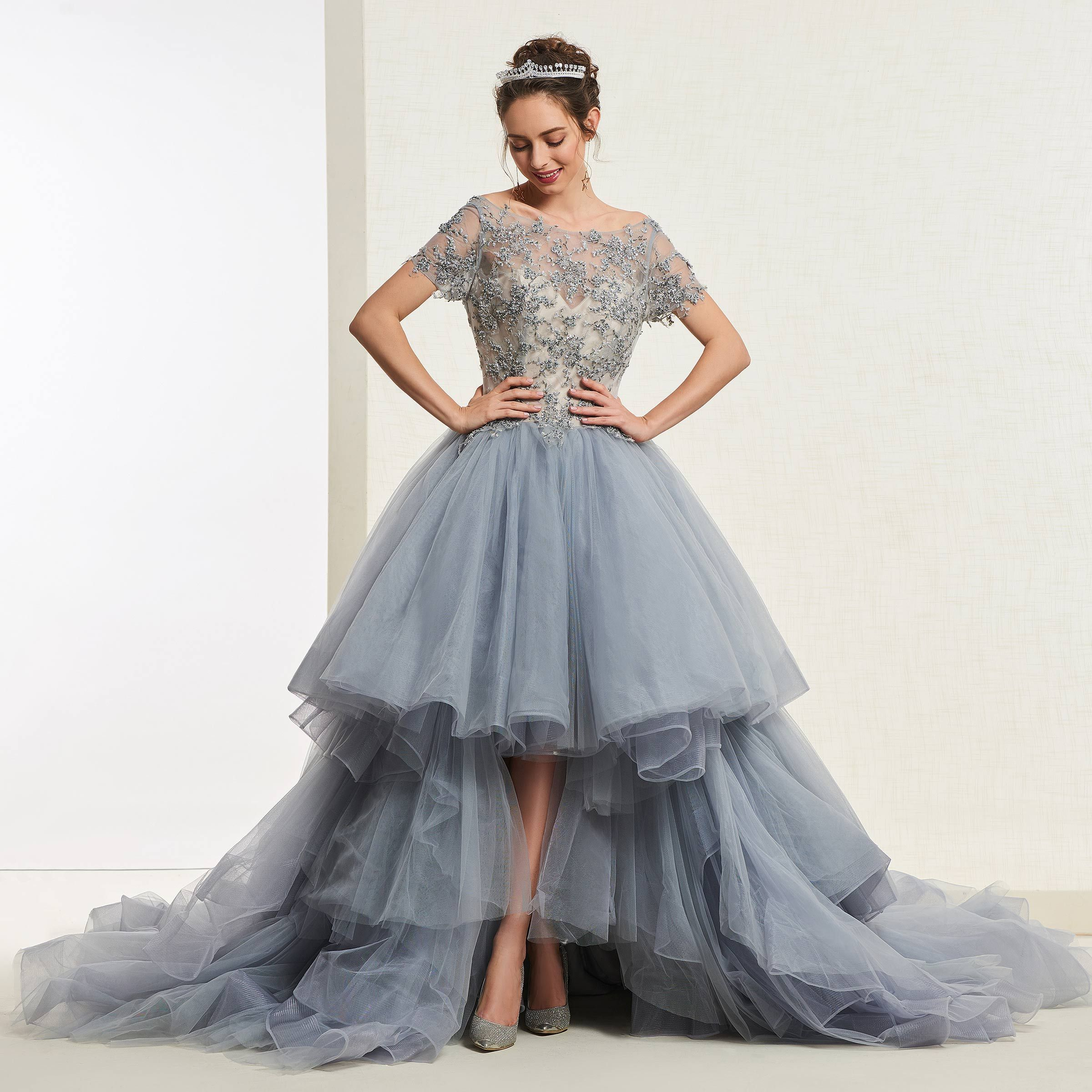 Ericdress Short Sleeves High Low Ball Gown Quinceanera Dress Cheap Quinceanera Dresses Ball Gowns Quince Dresses [ 2400 x 2400 Pixel ]